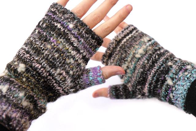 Hand spun, hand knitted fingerless mittens