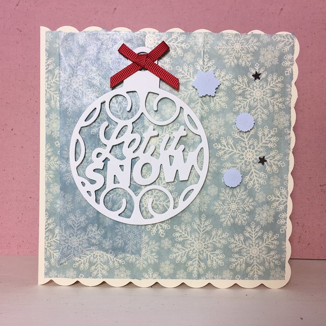 Using decoupage paper on handmade cards – christmas bauble 'let it snow' card by StickerKitten