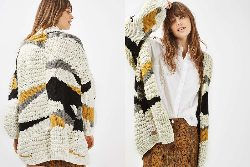 Hand Knitted Patchwork Cardigan by Topshop
