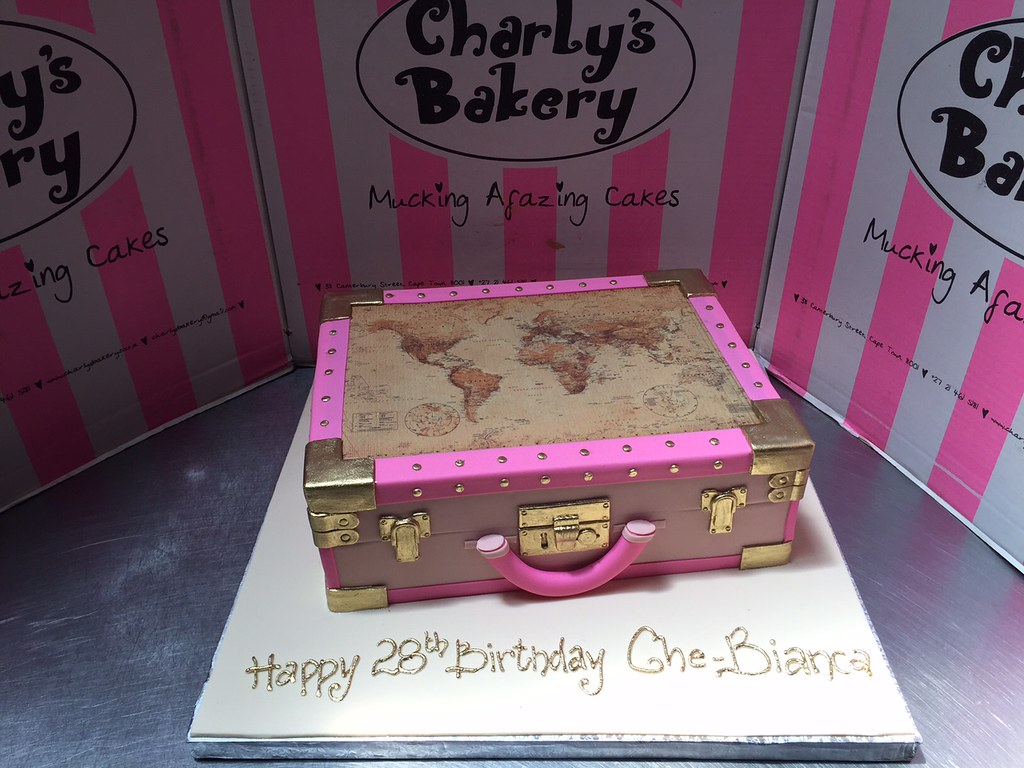 3D Suitcase shaped cake in nude, pink & gold, with edible … | Flickr