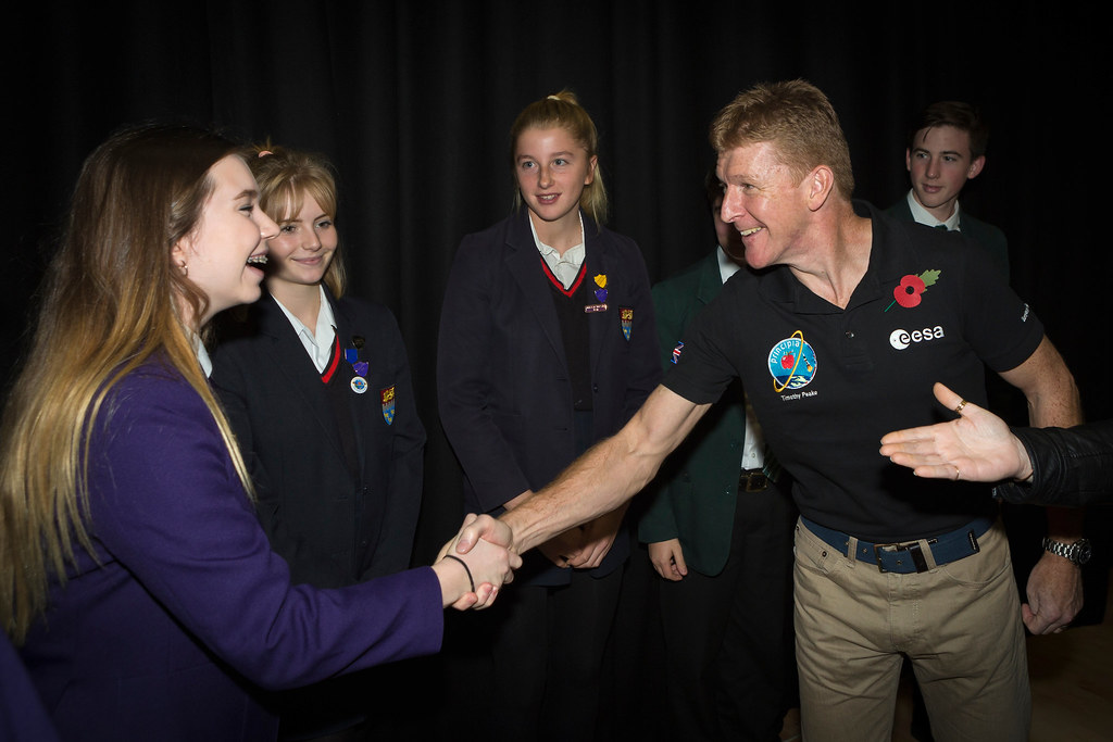 Tim Peake meeting pupils from his former school, Chichester High School.