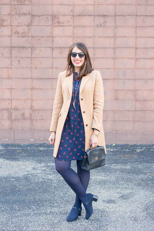bird print shirt dress + camel wool coat + navy tights + navy heels; winter work outfit | Style On Target blog