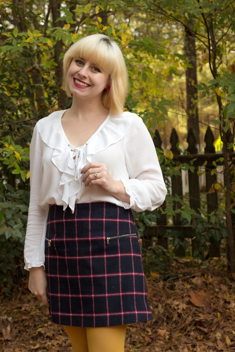 Forever 21 Ruffled Lace Up Blouse with Blue and White Plaid Skirt