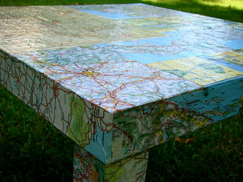 ikea lack hack-map table | One $7.00 table, old maps and a