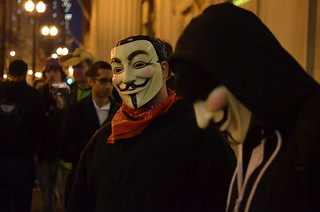 Occupy Chicago Protester Wearing a Guy Fawkes Mask