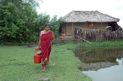 A farmer carrying fish food, Bangladesh. Photo by WorldFish, 2008
