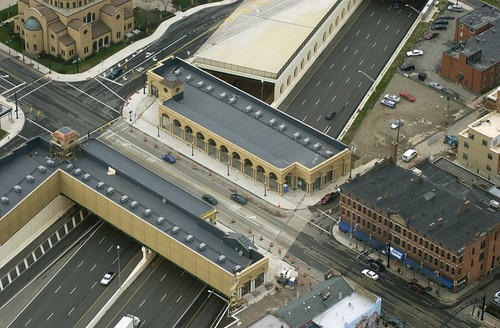 Cap over freeway at Union Station, Columbus, Ohio