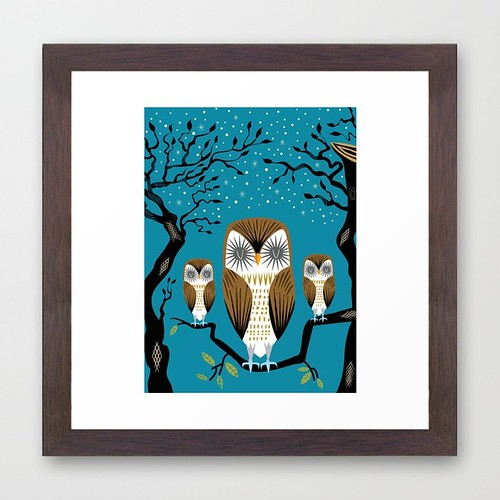 Three Lazy Owls - Framed Art Print / Conservation Walnut | by iOTA iLLUSTRATION