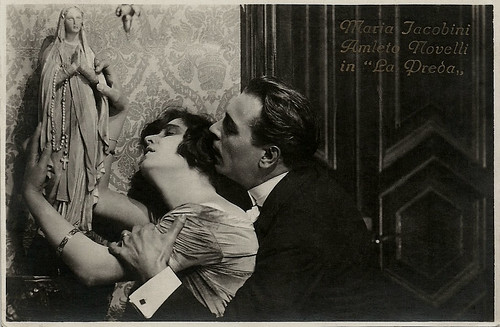Maria Jacobini and Amleto Novelli in La preda (1921)
