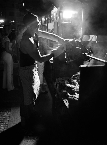 Meat cutter on Prague's old town square | by matthijs rouw