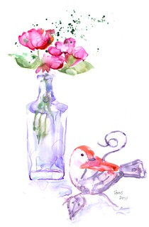 Joanne's bird and vase from the flea market | by loveitaly