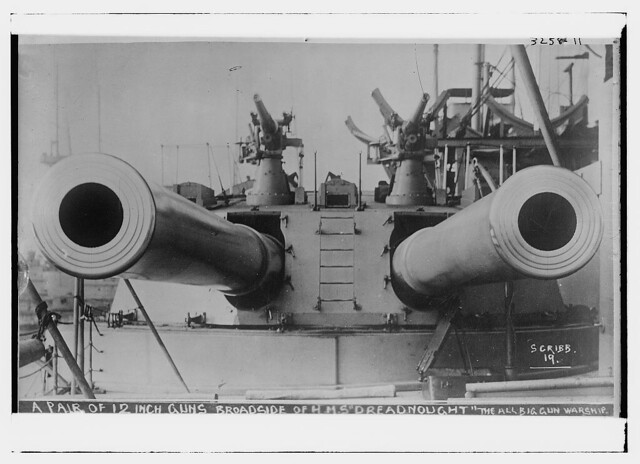 "A pair of 12"" guns -- Broadside of HMS DREADNOUGHT -- the all big gun warship  (LOC)"