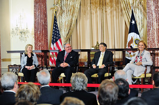 Secretary Clinton Participates in a Conversation With Awardees Howard Buffett, Bill Gates, and WFP Executive Director Josette Sheeran | by U.S. Department of State