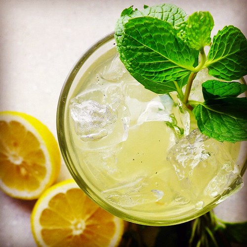 "Lemonade w/vanilla, mint+rosemary, recipe in @hughacheson's ""a new turn in the south"" 