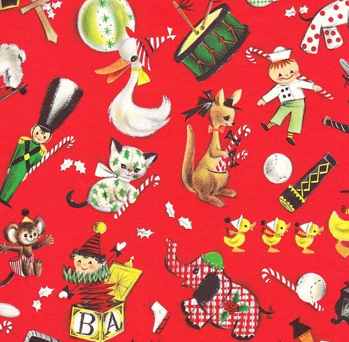 Vintage christmas gift wrap ambassador toy parade for Paper christmas gifts