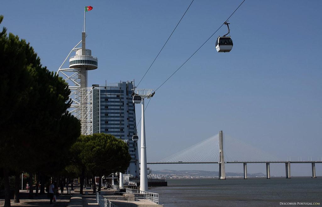 Au fond à droite, le colossal pont Vasco da Gama.