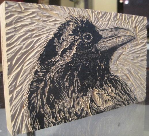Raven ink virgin carved lino block draw julia