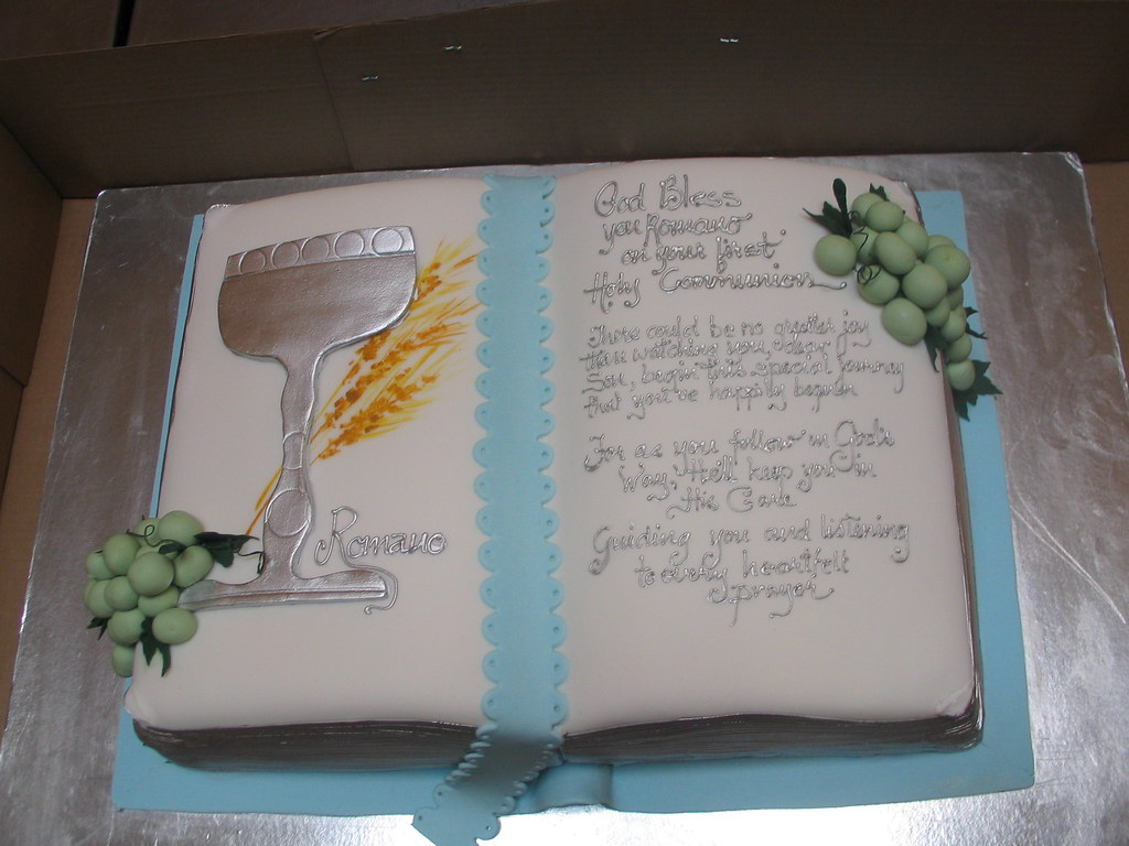 Bible shaped cake decorated with silver chalice silver wo for Decorated bible