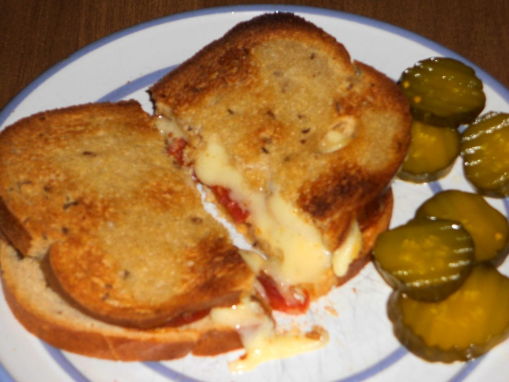 Toasted Cheese   ..on rye with caraway seeds, with pepperoni ...