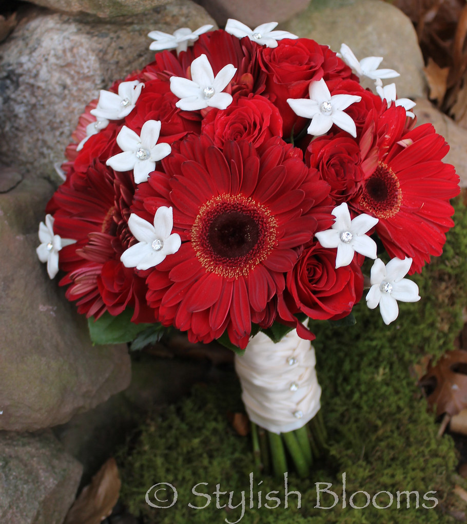 Red Gerbera Wedding Bouquets : Red gerbera bridal bouquet by stylish blooms