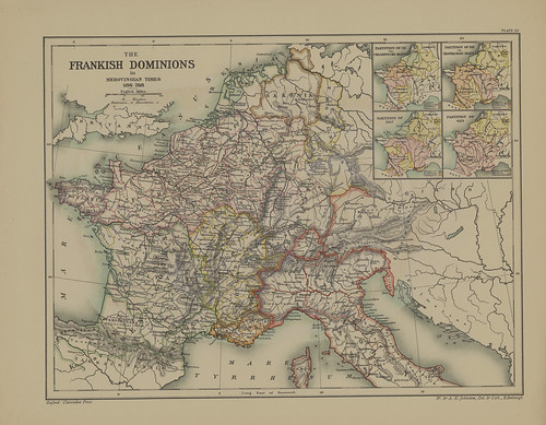 Section XXXII Map page of The Frankish Dominions in Merovingian Time 486-768 from Part III of Historical atlas of modern Europe from the decline of the Roman empire : comprising also maps of parts of Asia and of the New world | by uconnlibrariesmagic