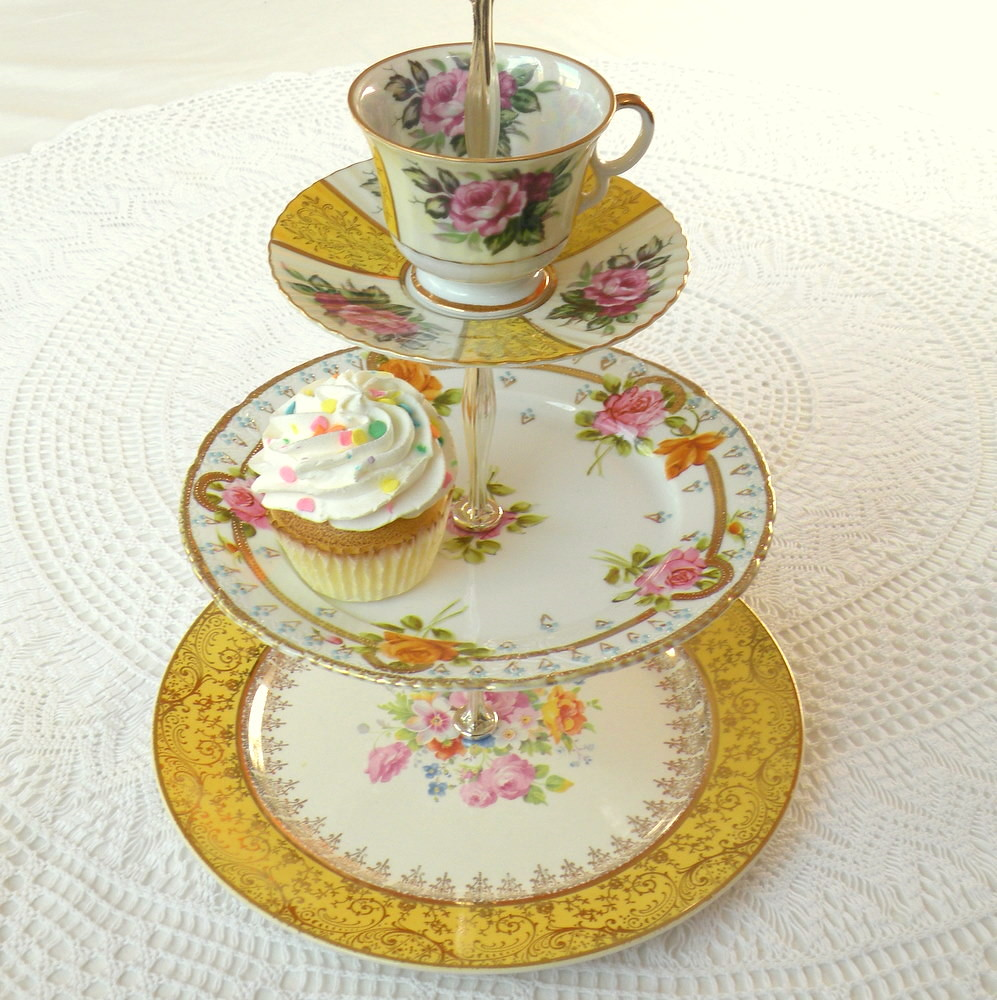 Cake Stand With Pastries Painted On It