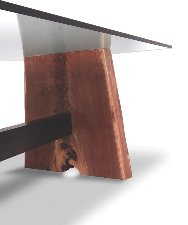 Walnut Dining Table Glass Top Live Edge Detail Walnut