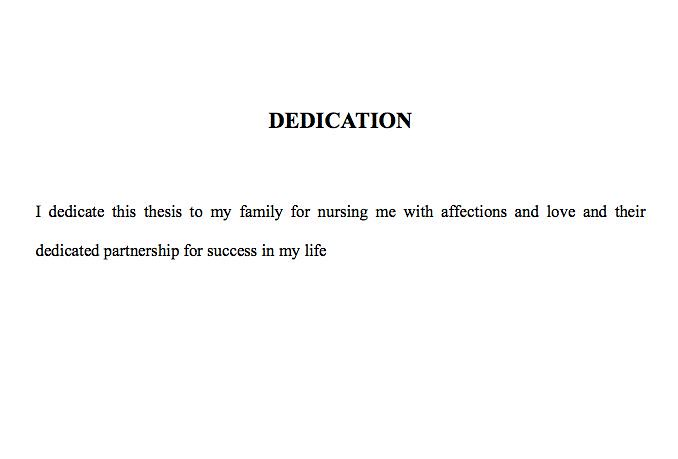 dedication message thesis
