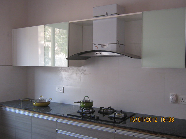 Modular Kitchen With Hub Chimney Sink Show Flat Of