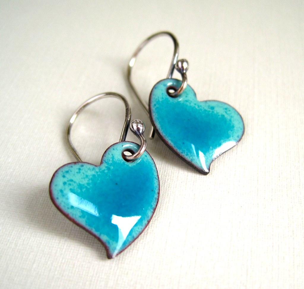 Enamel Jewelry Turquoise Enamel Heart Earrings   Tracy ...