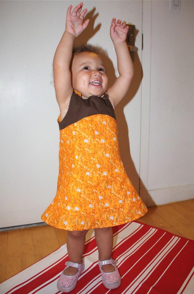 Z's Orange Tea Party dress | Pattern: Oliver + S patterns