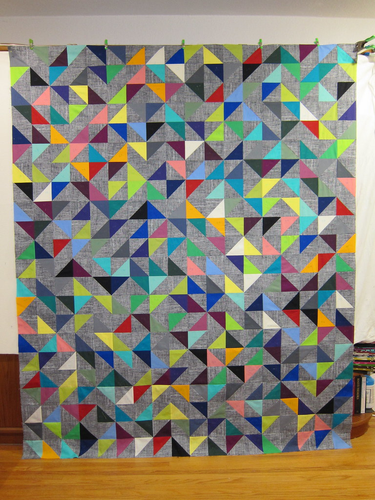 Random Vector Quilt Top Fully Assembled From 396 Hst