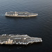 USS Abraham Lincoln and USS John C. Stennis join for a turnover of responsibility in the Arabian Sea.