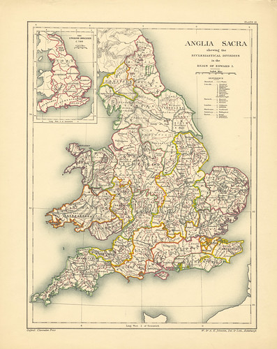 Section XIX Map page of The Ecclesiastical Geography of England from Historical atlas of modern Europe from the decline of the Roman empire : comprising also maps of parts of Asia and of the New world | by uconnlibrariesmagic