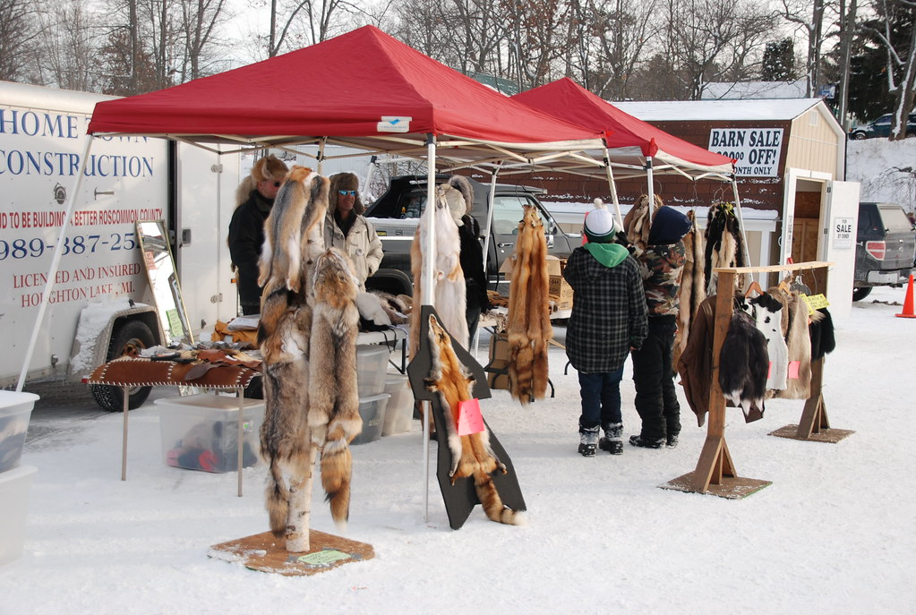Fur pelts for sale at Tip-up Town USA Winter Festival in H ...