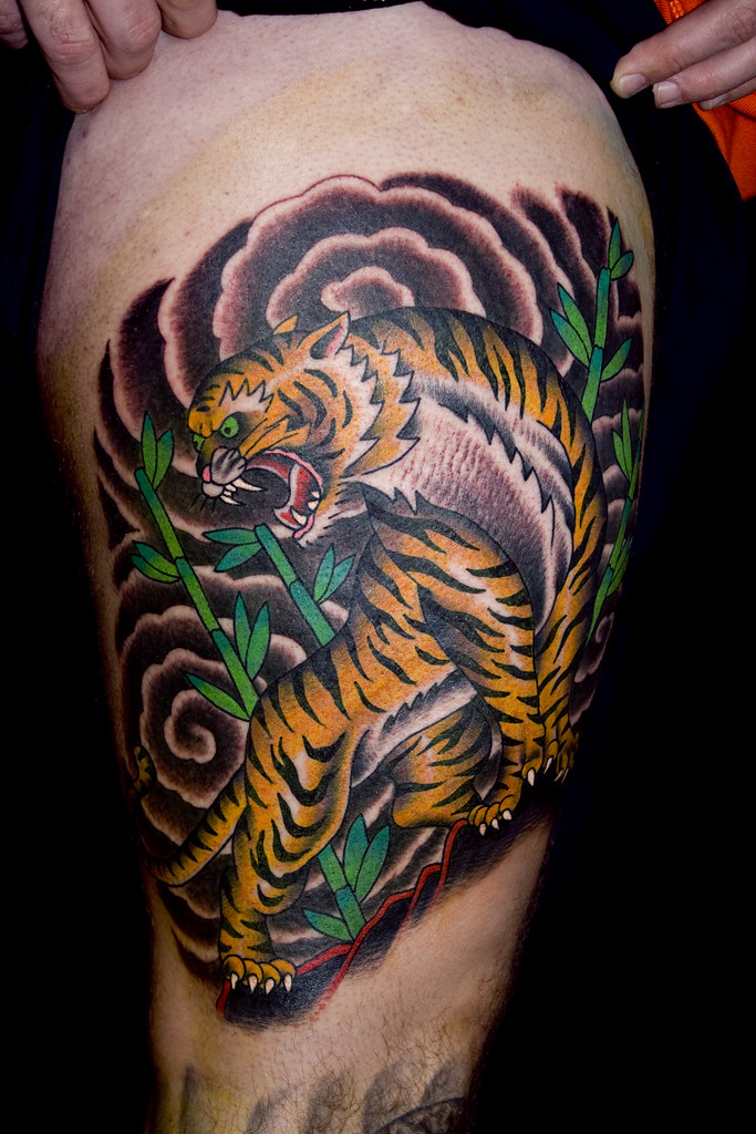 Tiger Tattoo On Thigh Myke Chambers Tattoos By Myke