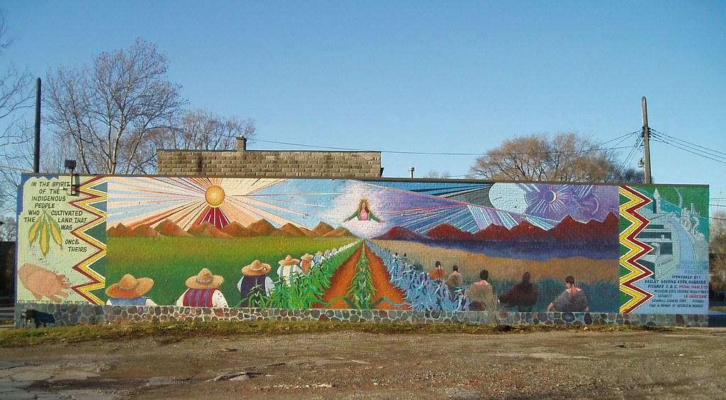 Indigenous spirit mural bagley 2 mural in detroit 39 s for Detroit mural factory