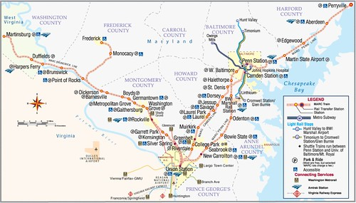 MTA Maryland/MARC commuter railroad Map