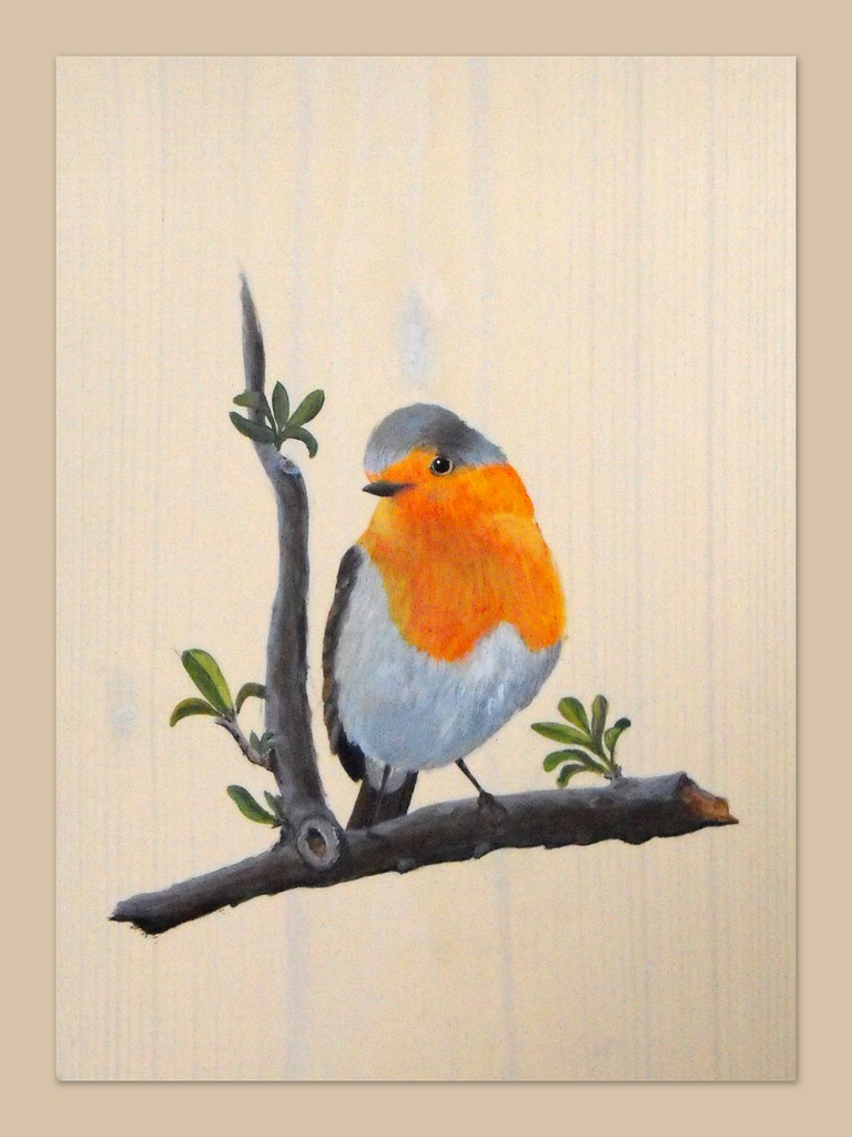 Rouge gorge peinture acrylique sur bois 24x32 cm rockpainting yvette flickr - Peinture acrylique sur bois ...