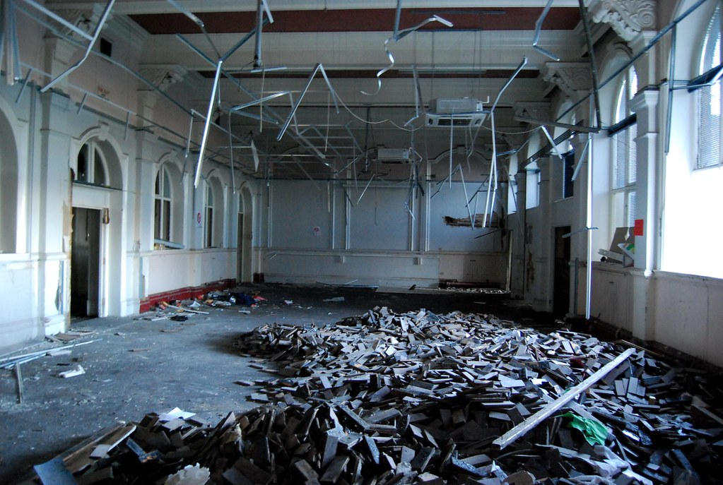 Pudsey Grangefield School-6, Ripped up   The wooden ...