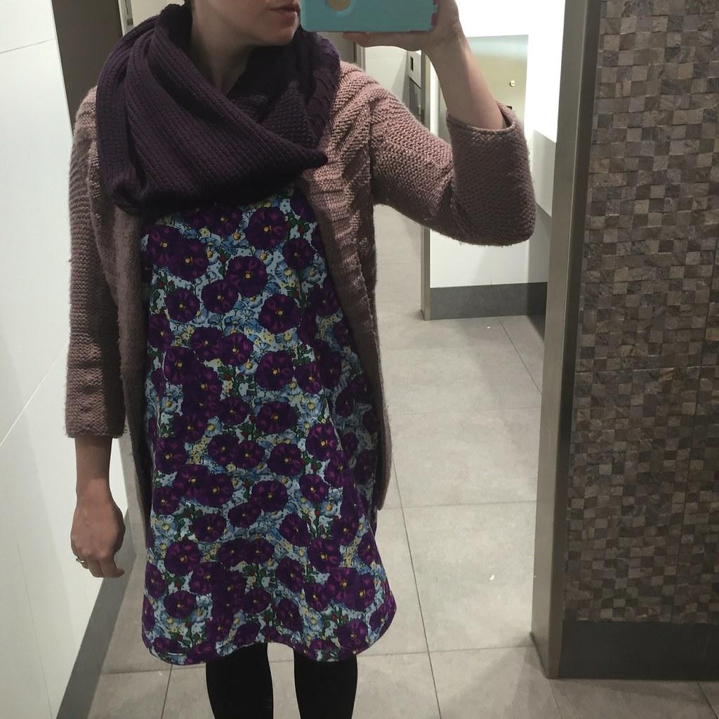 fresh off the machine wiksten tank dress in purple floral