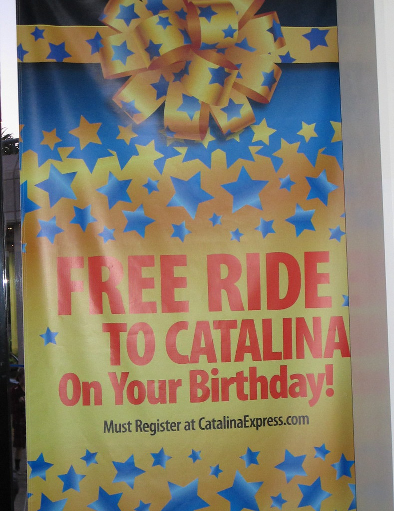 "Catalina Express is celebrating the city of Avalon's th birthday by providing riders with a free round-trip to the island on their birthdays. The ""Free Ride on Your Birthday Promotion"" runs from May ."