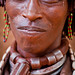 Married women of Hamer tribe, have a collar around his neck made of leather with metal inserts, lower omo valley, ethiopia