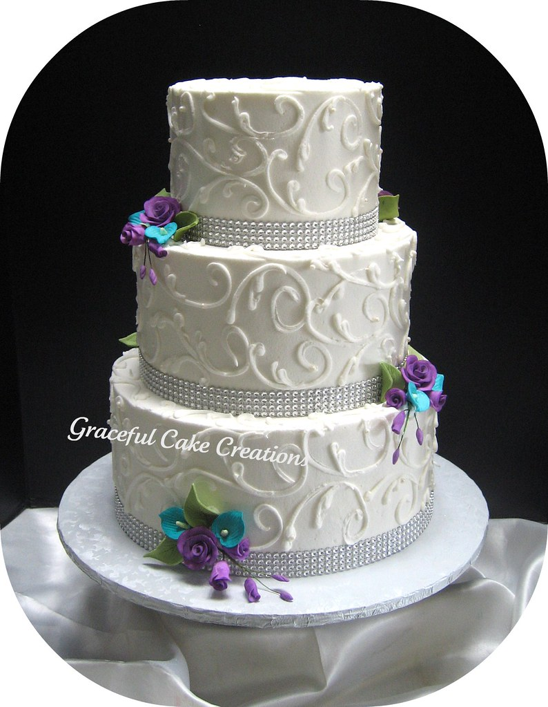 wedding cakes with ribbon on them white wedding cake with ribbon accented wi 26102