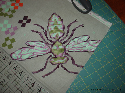 Body Pillow - cross-stitch bee panel as sent | by Kinetic Quilts
