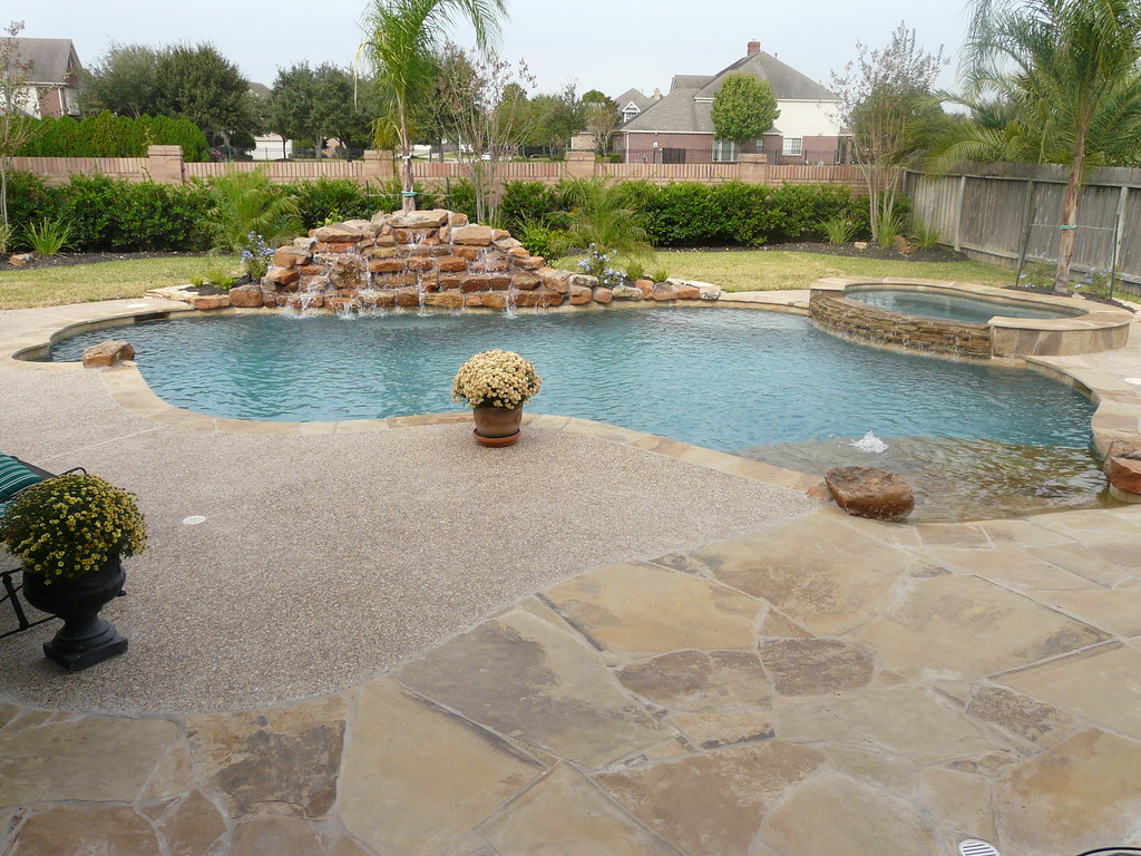 Katy Swimming Pool Builder Rock waterfall