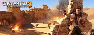 Facebook timeline cover image - Uncharted 3 Drake in the desert | by naughty_dog