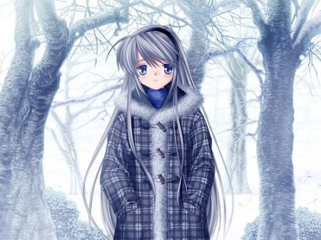 Anime Lonely Winter anime girl in w...
