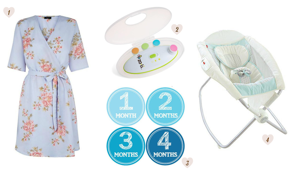 New Look – Tall Grey Floral Print Tie Waist Wrap Dress - Amazon France – Zoli Buzz B electric nail buffer Etsy baby – Monhtly stickers growth milestones Amazon.com – Fisher-Price Moonlight Meadow Deluxe Newborn Rock 'n Play Sleeper