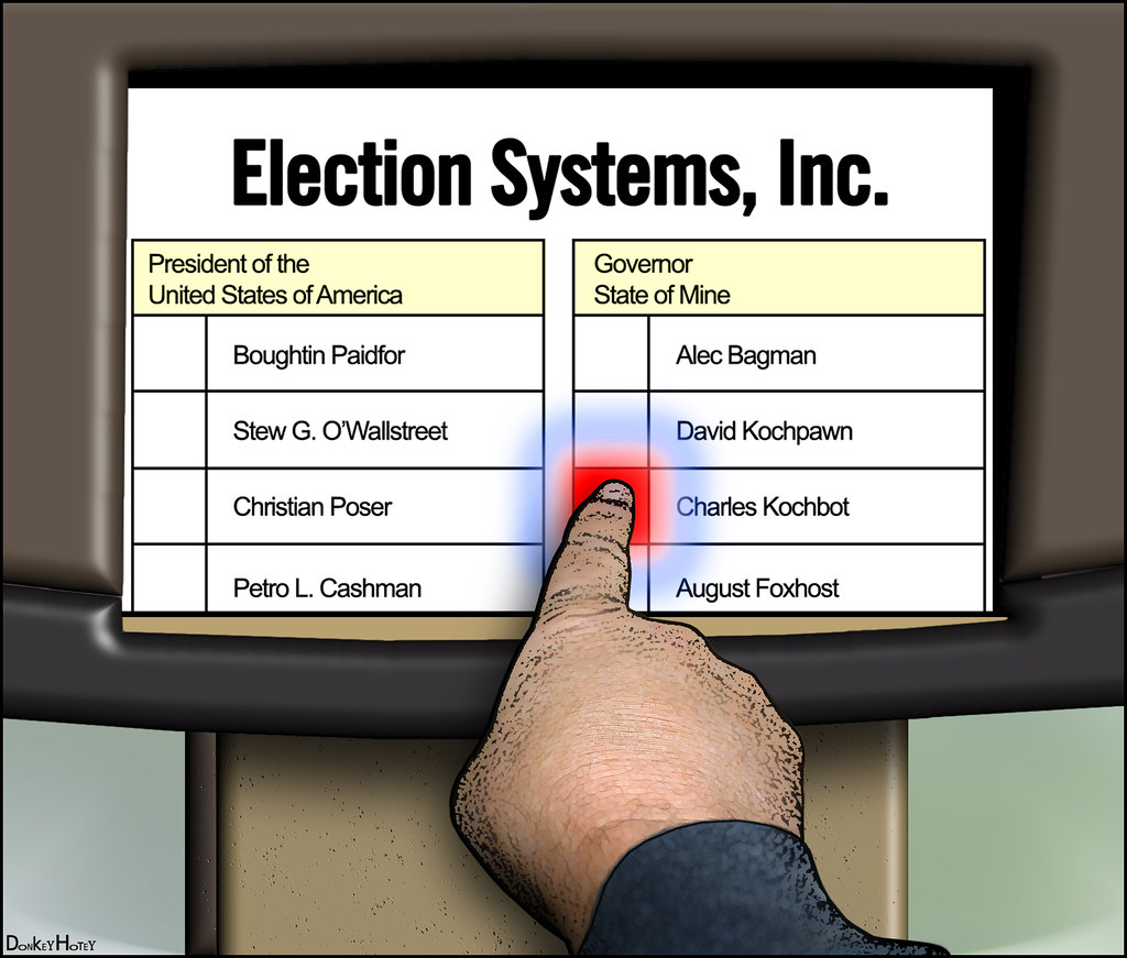 Voting Screen Cartoon Electronic Voting System Screen